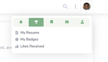User Menu with My Resume Button