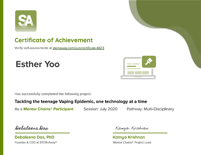 Certificate 6673 for Esther Yoo