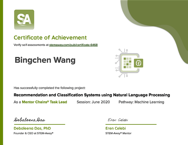 Certificate 6468 for Bingchen Wang
